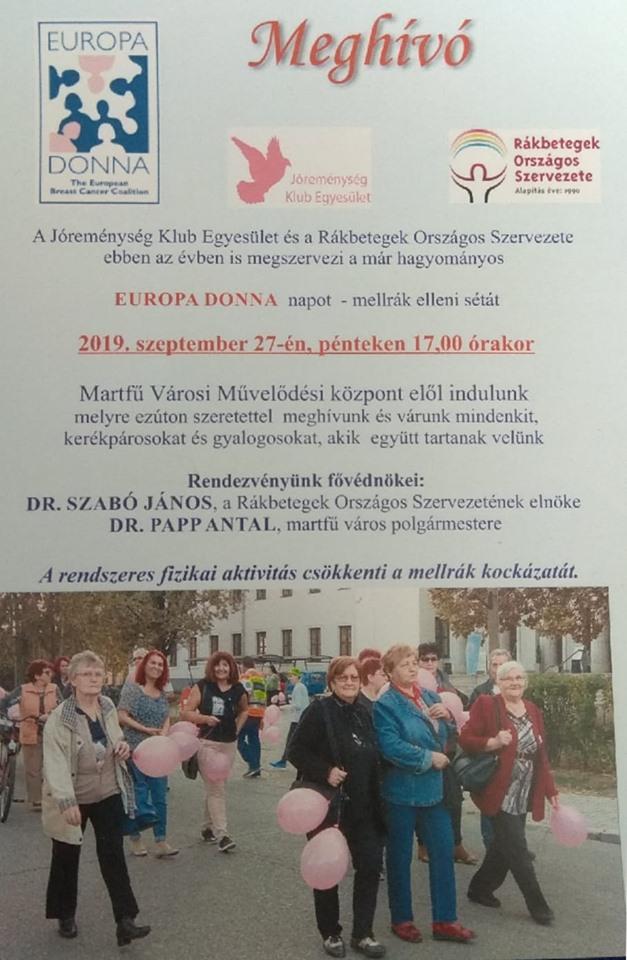 EUROPA DONNA - mellrák elleni séta @ Martfű, több helyszín | Martfű | Magyarország