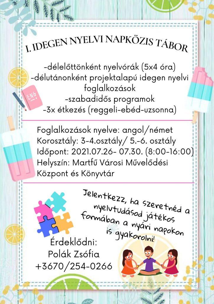 I. Idegen nyelvi napközis tábor @ Martfű Városi Művelődési Központ | Martfű | Magyarország