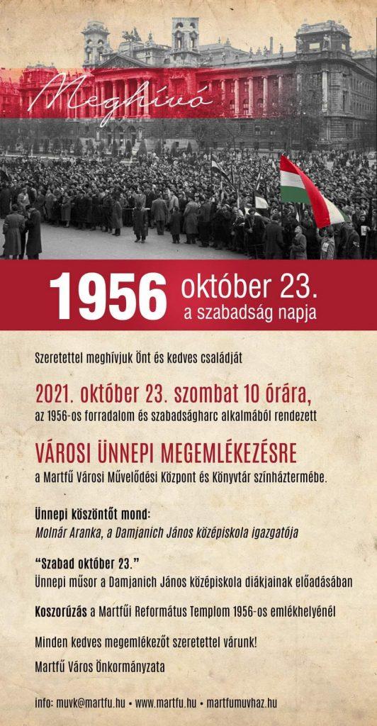 Október 23. - Városi megemlékezés @ Martfű, több helyszín   Martfű   Magyarország